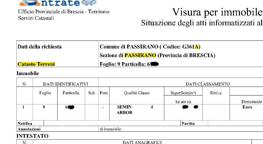 Superior In Questo Caso Il Codice Della Sezione è U201cSNAu201d (visura Al Catasto  Fabbricati).